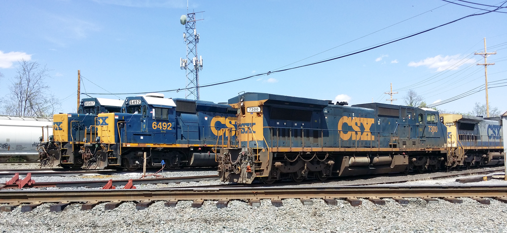On this beautiful Spring day, we got to see a few locomotives resting up for the journey ahead. Meanwhile, a massive train was rolling in the background. Fun Facts: CSX 8567 likes to travel. Railfans have spotted it everywhere from Florida to Pennsylvania! This locomotive was built by GM in February 1984 for the Chesapeake and Ohio Railway. CSX Transportation currently has over 170 EMD SD50-2 locomotives on their roster.