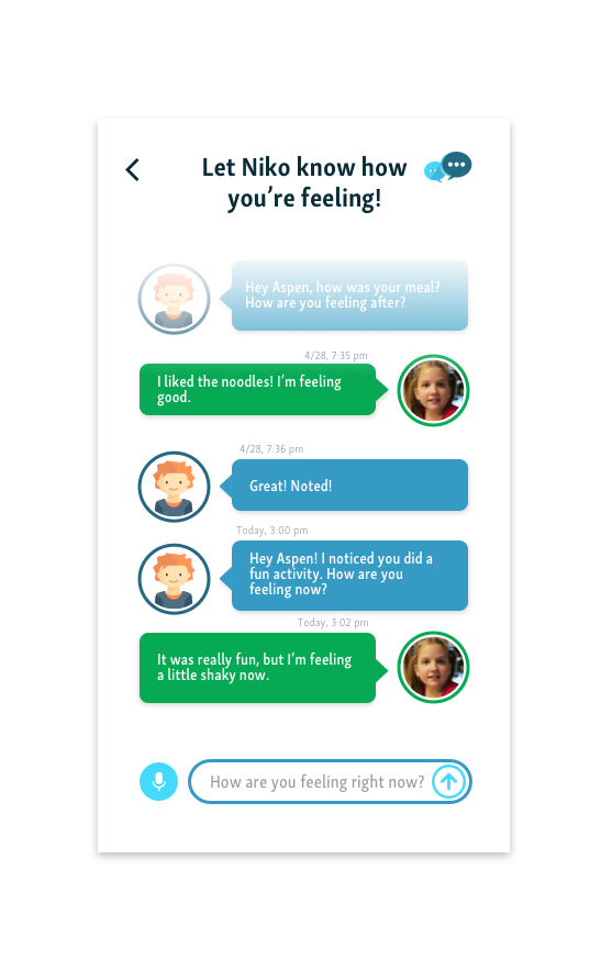 chatbot - The Chatbot feature allows the child to log how they are feeling throughout the day. The chatbot is automatically triggered when it senses anything irregular or if a child forgets to log their activities. This feedback from the child is critical in improving the insulin therapy. The chatbot is able to alert caregivers as necessary, and the data is used to suggest insulin dose updates.
