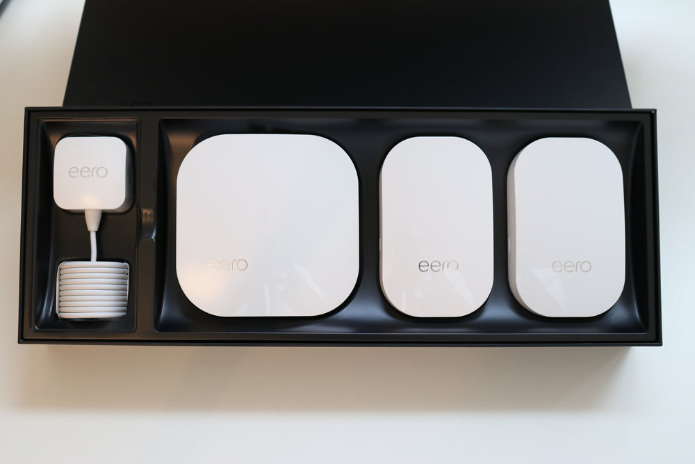 Eero WiFi three pack, with one base station and two Eero beacon WiFi extenders. This is the best WiFi system on the market on 2018.