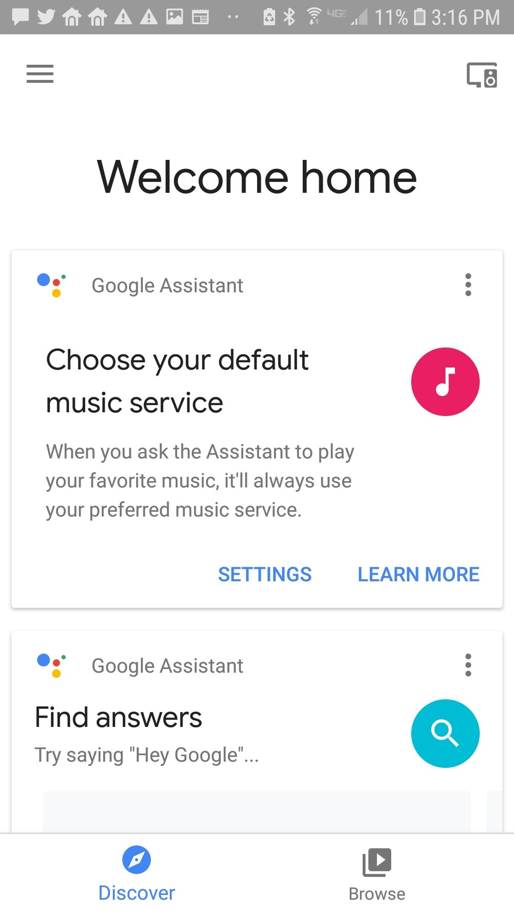 Google home mini screen, click on menu in upper left hand corner.
