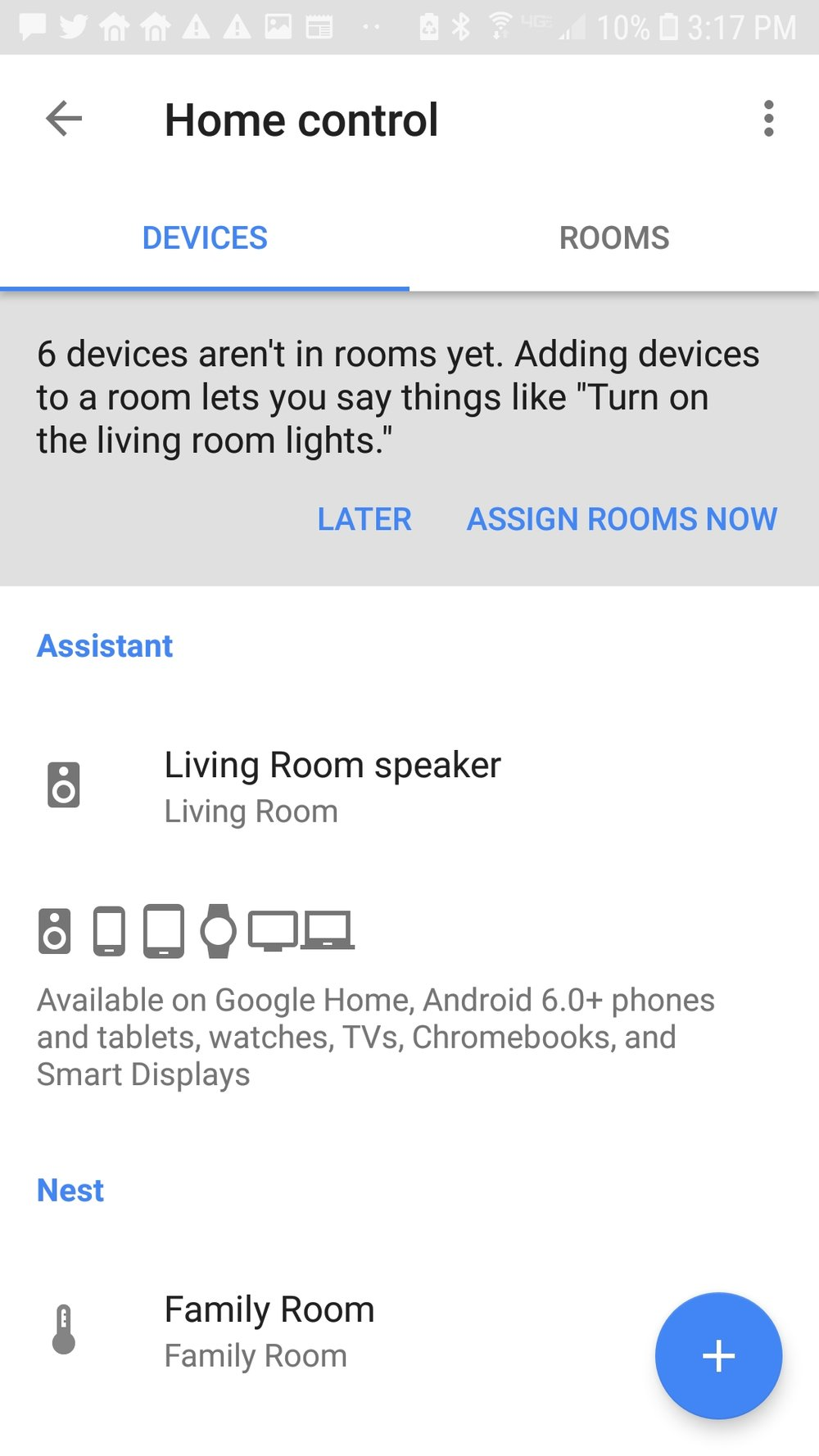 "Click on the blue + circle to add the nest ""skill"" service to the the google home mini."