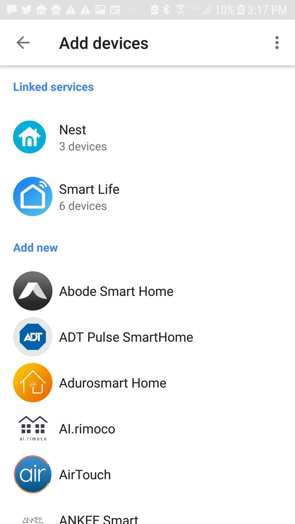Click on the nest service to add the nest skill to the google home mini. You will then need to input your nest username and password.