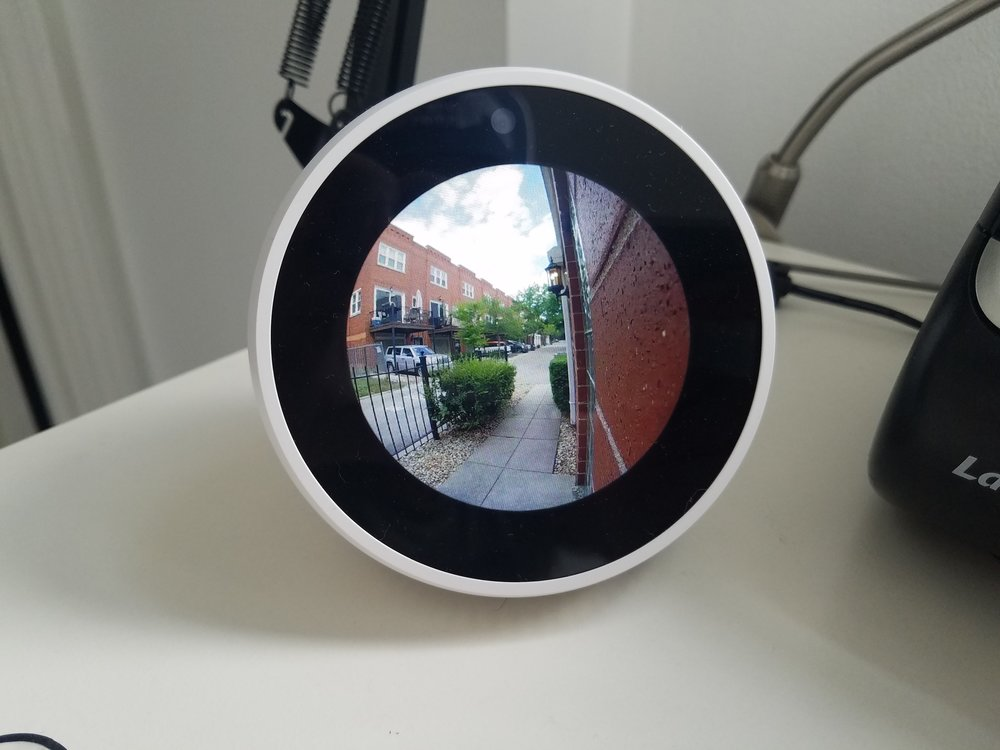 Amazon Alexa Spot  Showing how you can stream with your  Blink Cam Indoor  or  Blink Cam Outdoor