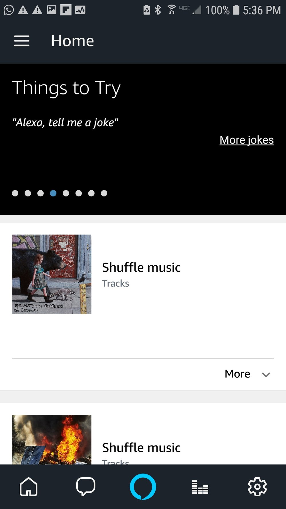 The Alexa App: Click on the menu in top left of screen to connect your Amazon Alexa show or Amazon Alexa Spot to the Arlo Smart Camera