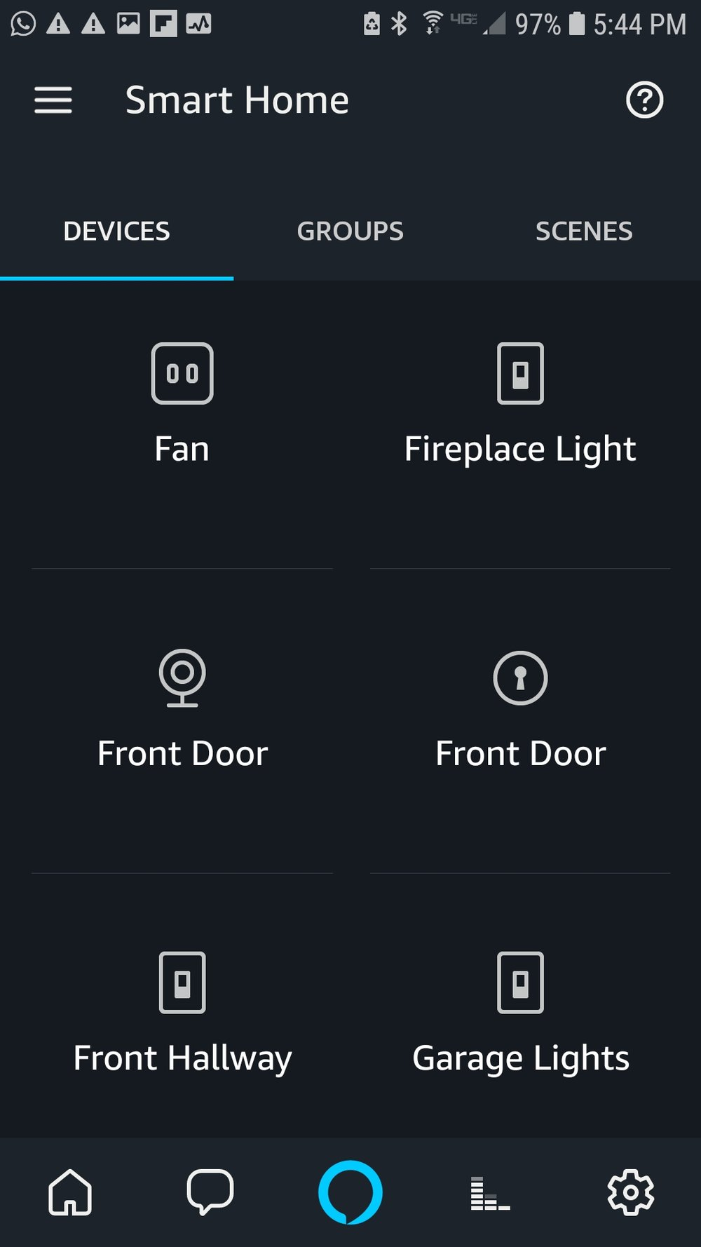 "The skill should automatically search for devices after the Ring account is connected. The Ring front doorbell is represented as ""front door"" the circular camera device on the left hand side of the screen in the middle row. If you see your doorbell as a device in the smart home screen your Ring Smart Video Doorbell has been successfully connected to Amazon Alexa. Just say ""Alexa, show me front door"" and it will pop up on your Amazon Show or Amazon Spot."