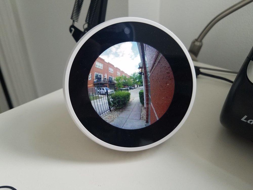 Nest Alexa Hello Smart Doorbell Video Integration: Showing Live Video Feed on Amazon Echo Spot.