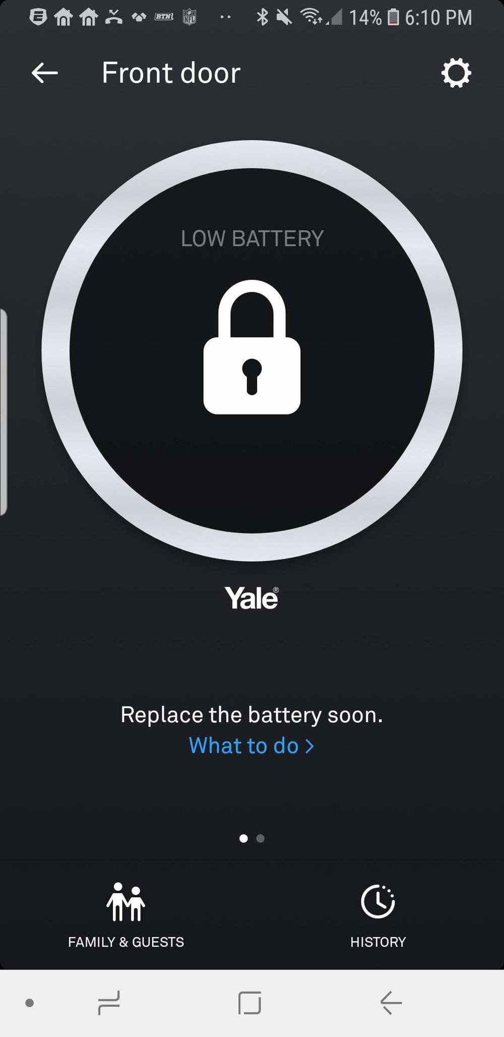 Nest x Yale Lock Low Battery Notification