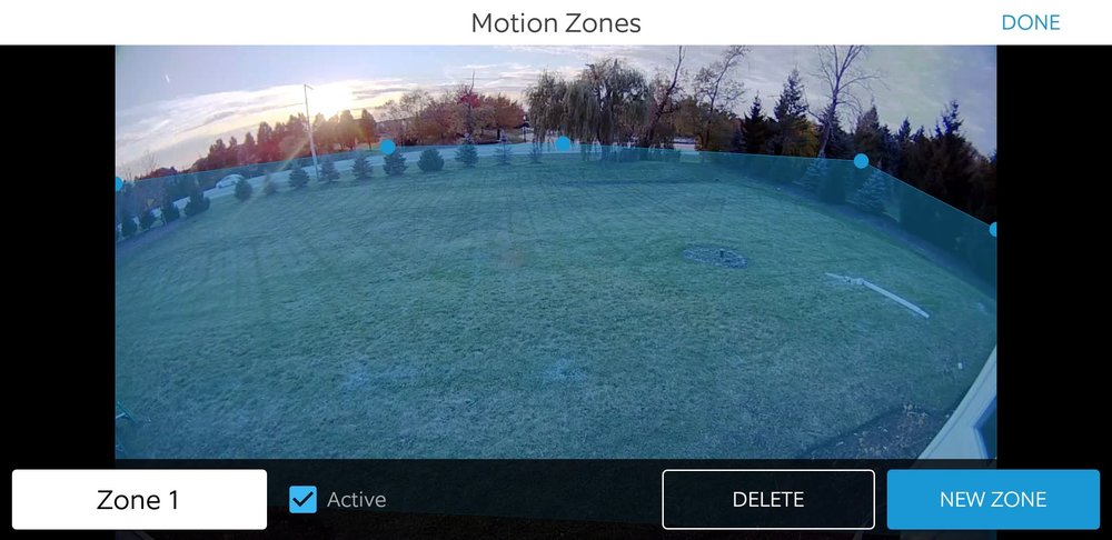 How To Install A Ring Floodlight Camera: The shaded blue area is the custom motion zone, you can adjust it by tapping on the blue dots and moving them to create a field of coverage to alert you to motion. You can create several different zones and save them in your setting for future use.