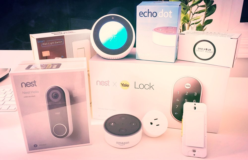 Nest Devices That Work With Google Home: Nest Hello,  Nest Lock ,  One Hour Smart Home Light Switches  &  One Hour Smart Home Plugs