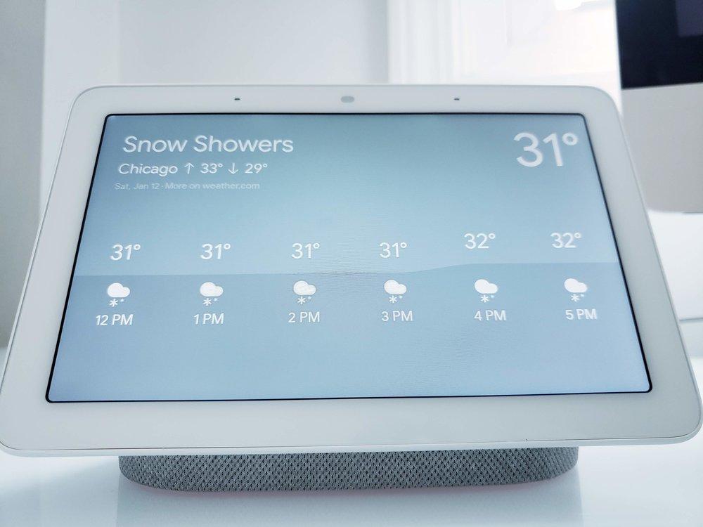"Google Home Command: ""Ok Google, show me the weather"""