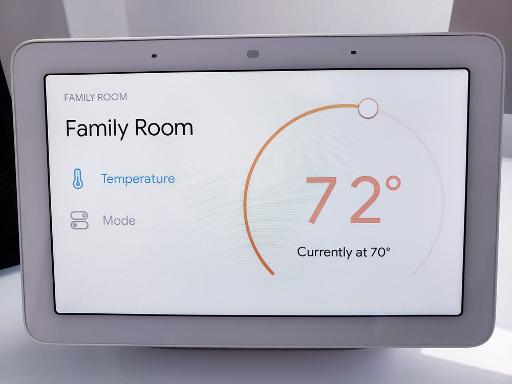 "Google Home Command: ""Ok Google, set thermostat to 72"""