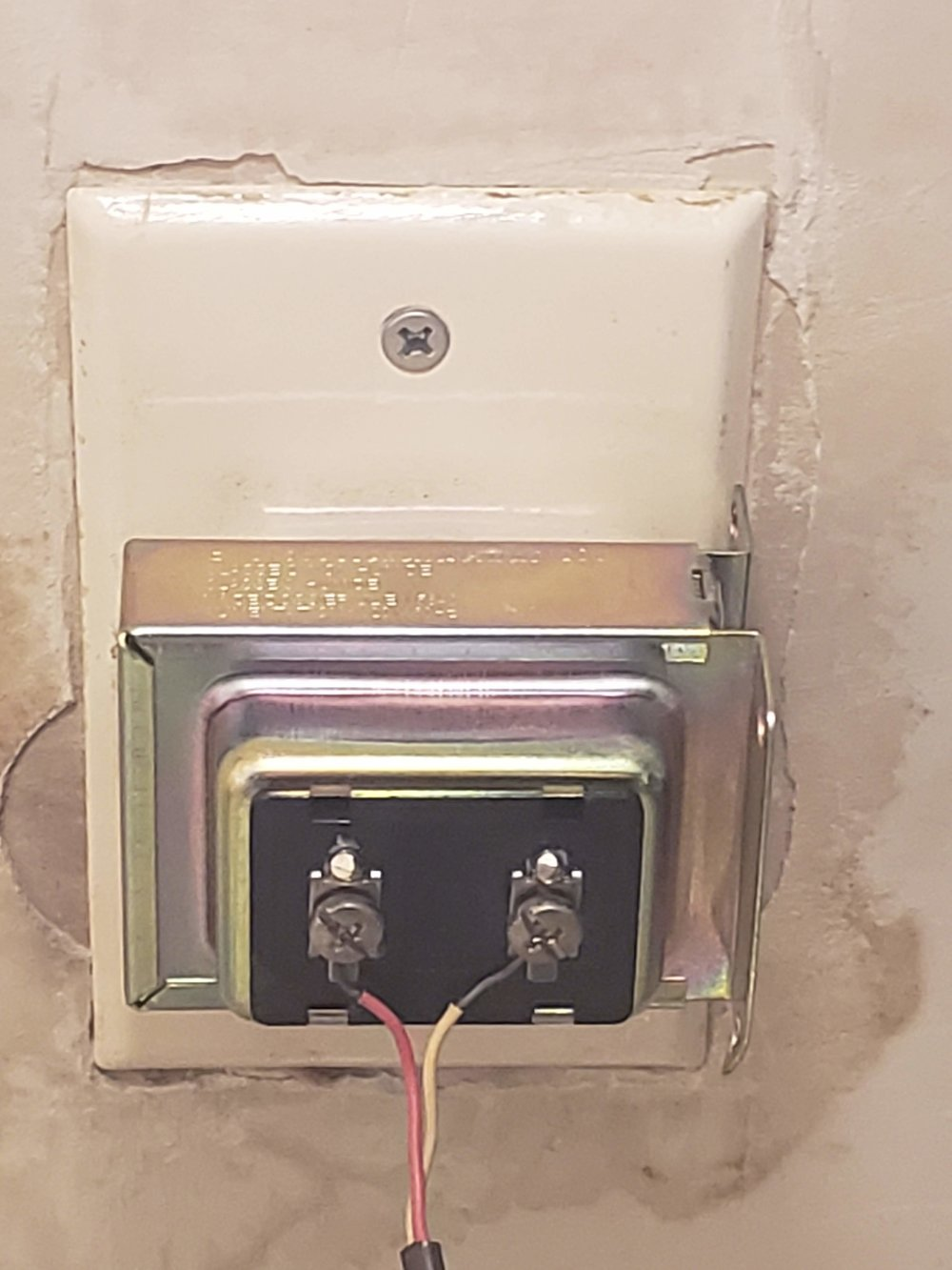 Doorbell Transformer located near HVAC in utility room connected to doorbell.