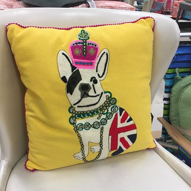 For all my #frenchie friends. It took a lot of restraint to not take this home today #😆 #ilovefrenchies #pups #omg #pillow #justperfect