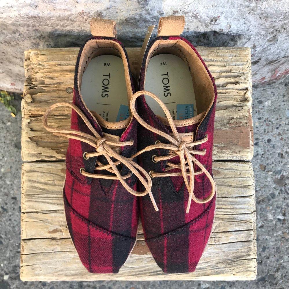 Bota - Red Plaid Felt on Leather