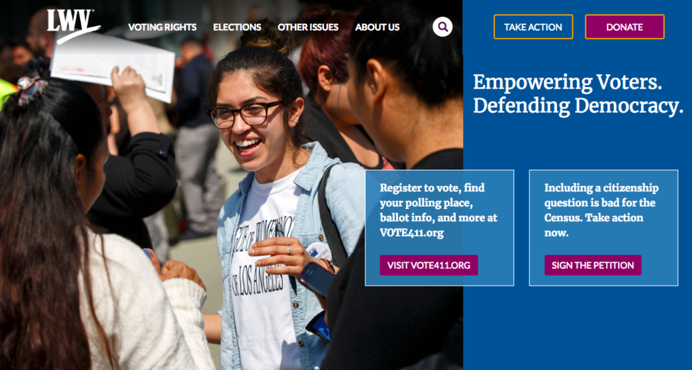 The current League of Women Voters website homepage