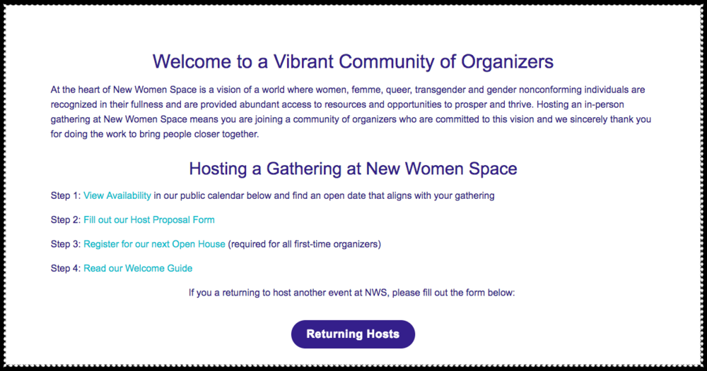 """""""Host a Gathering"""" page from New Women Space website"""