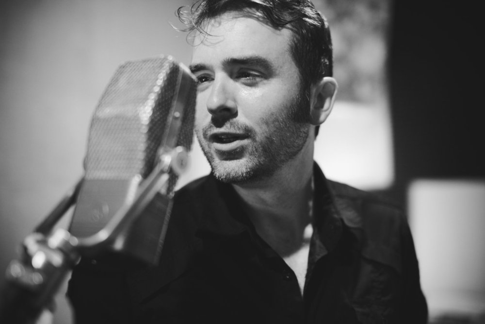 James singing vocals during a recording session at The Bomb Shelter Studio in East Nashville (Photo/Jon Estes)