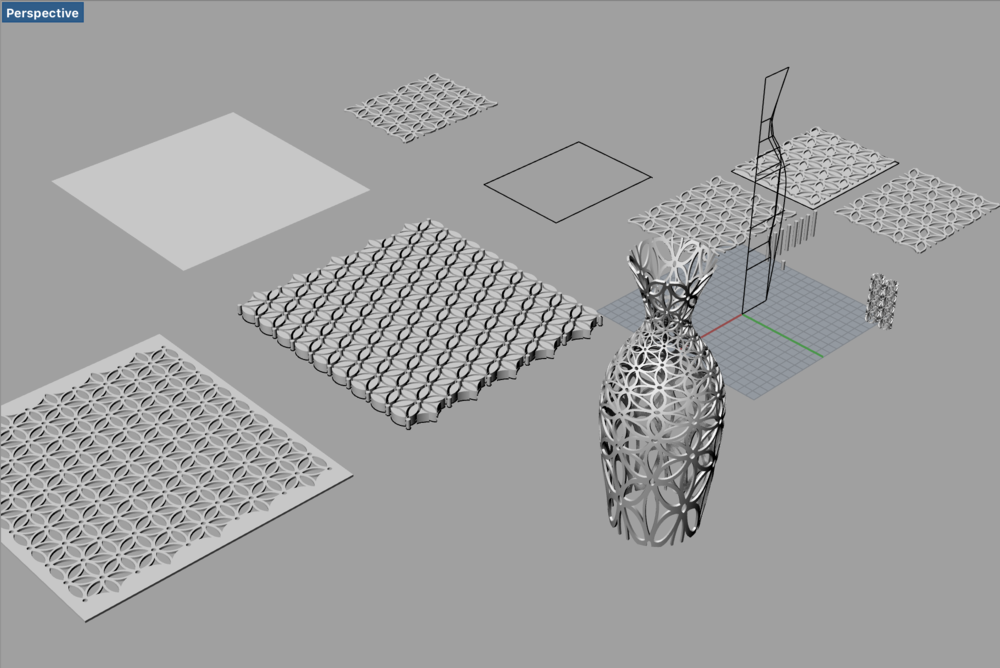 It took so much time to boolean difference 10 x 7 array of the pattern compared to one unit cell.