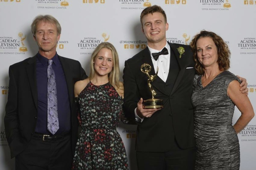Steve (Dad), Lindsey, Tommy and Annie (Mom) at the 2017 Upper Midwest Regional Emmy Award Gala.