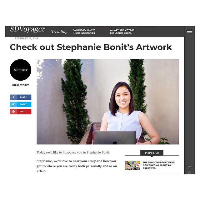 Quick interview with SDVoyager. Thankful I got to share a piece of my story of why I'm the artist I am today 👩🏻‍💻 Link in bio 🔗  Also, still on the freelance journey, and excited I'm now allowed to share some of the projects I've been working on. More posts coming soon!  #designer #crafter #photographer