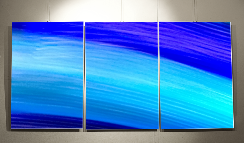 A mockup of how my Tranquility triptych would look on display. These images are still available.  Contact me  for more information.
