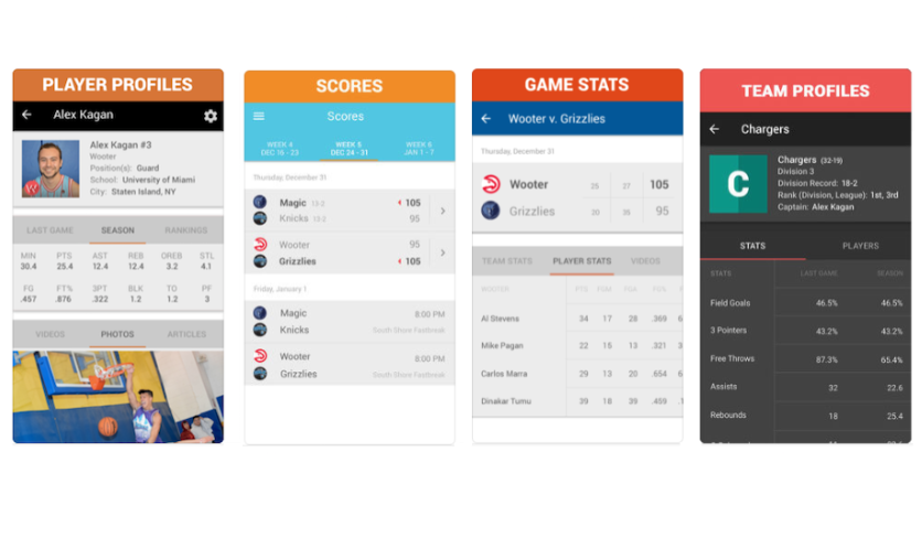Full Customization - Player Rankings, Scores, Game Stats, Standings, Team Profiles