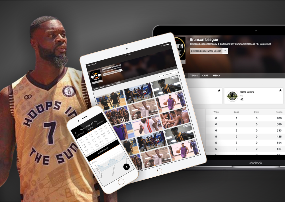 basketball app website for your league team or tournament with