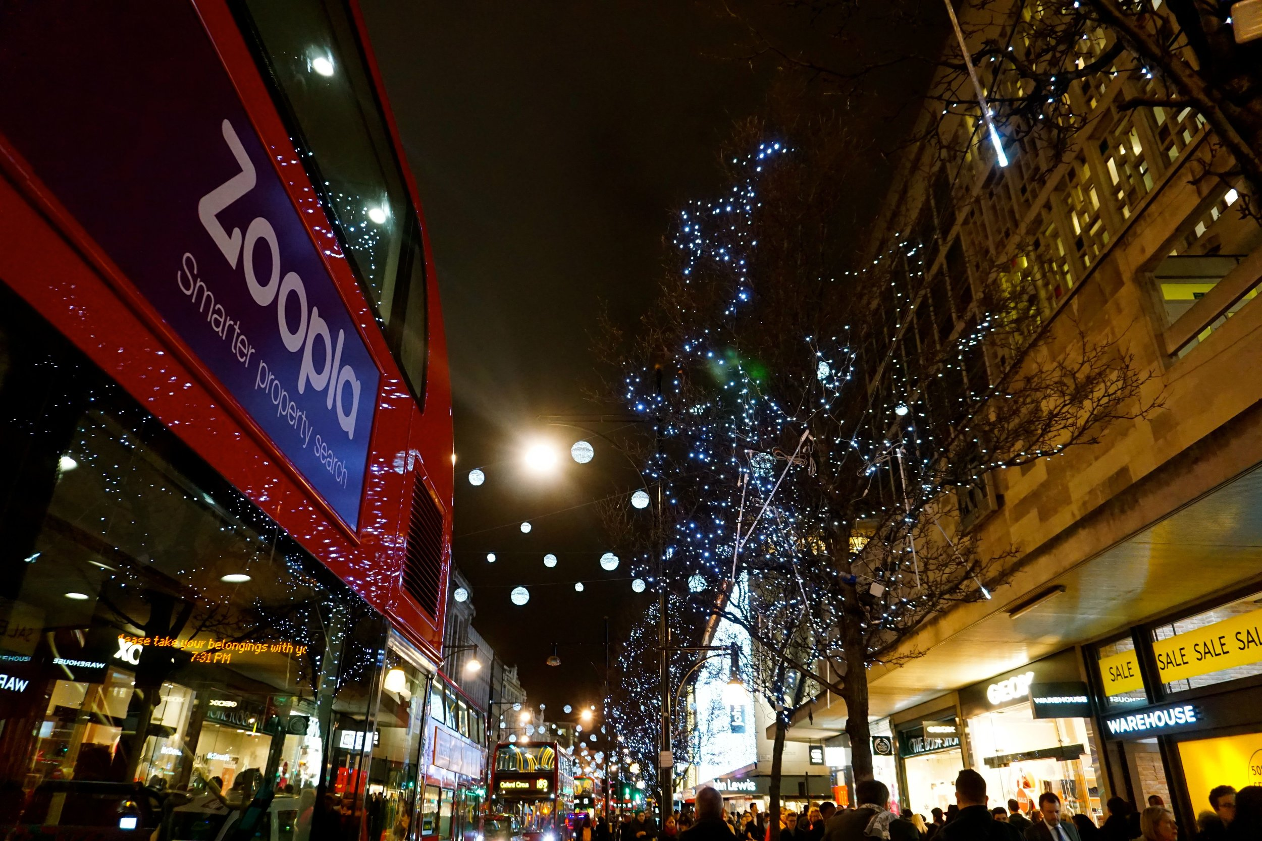 Christmas lights on Oxford St, London