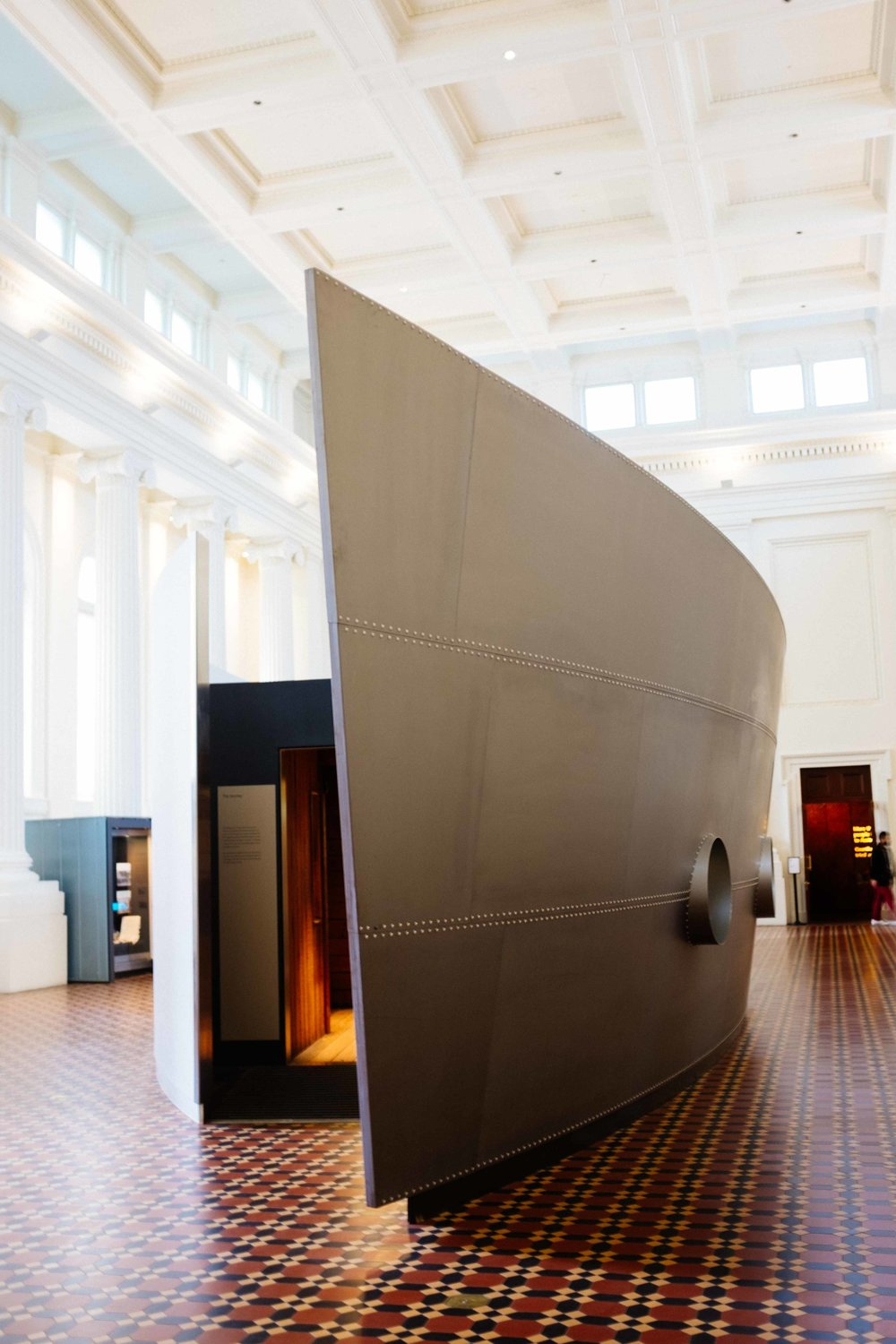 The boat inside the museum of immigration showing how immigrants arrived in Australia. Photo: Marine Raynard