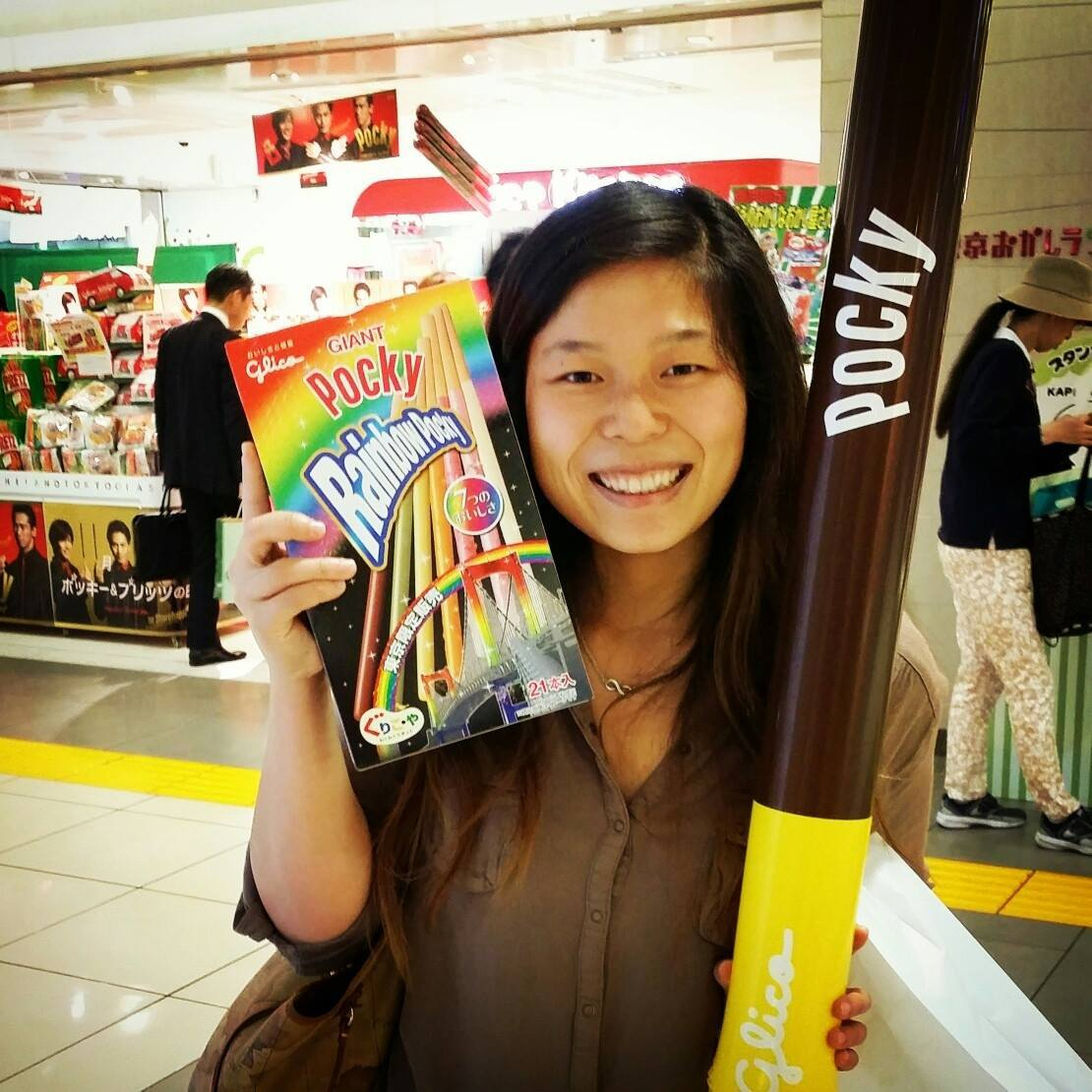 Kelly with a Giant Pocky in Japan!