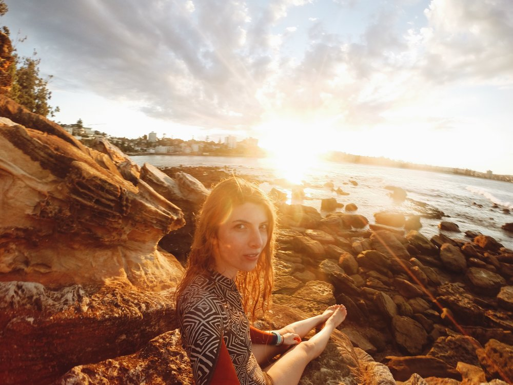 Selfie at sunset after snorkelling at Shelly Beach, Manly. Photo: Marine Raynard