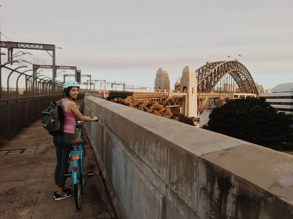Biking the harbour bridge in Sydney for the first time. Now something I do every day!