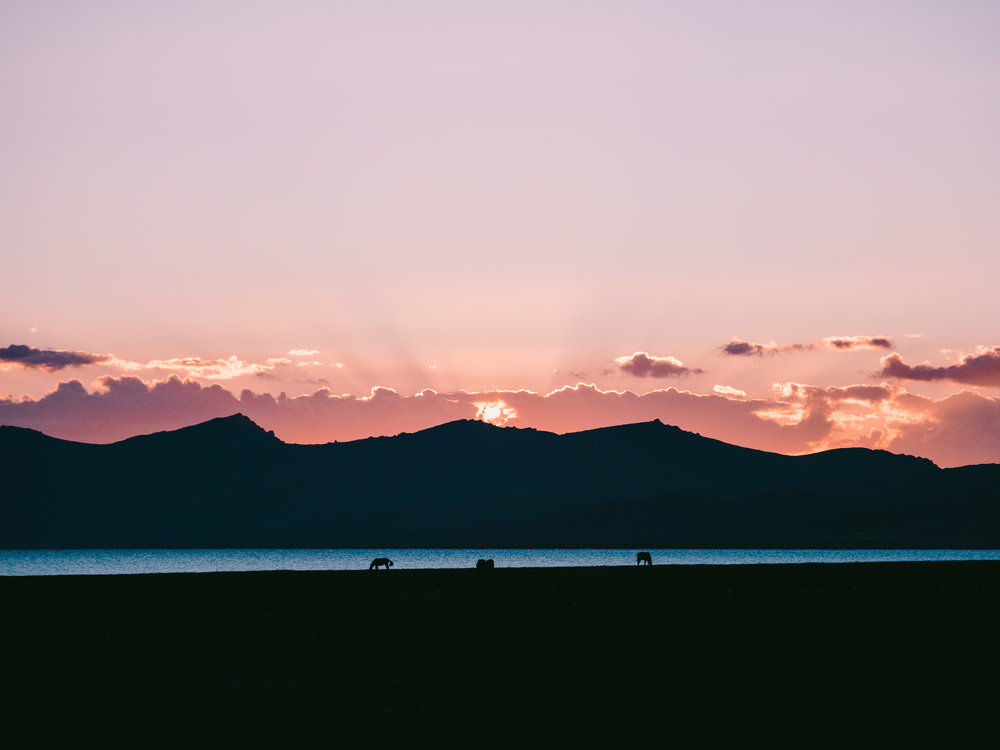 Picture Perfect - Sunset silhouettes along the eastern shores of Song-Kul Lake. Photo: Matt Horspool.