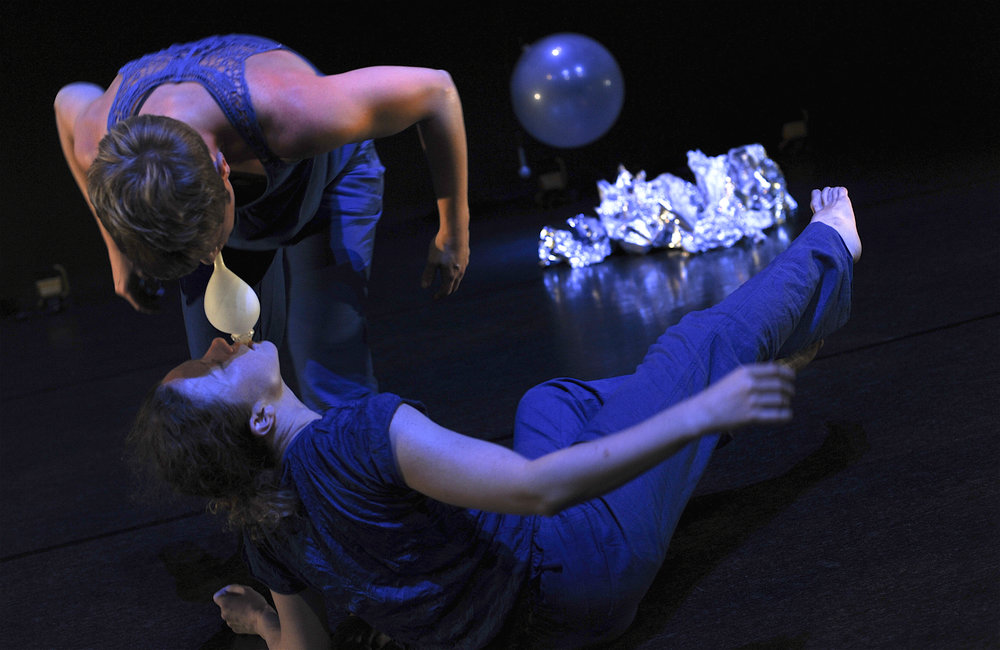 Kathryn Puie and Natalie Ayton in 'Under Pressure', Lennox Theatre, Riverside Theatres, Parramatta, 2013. Co-produced by FORM Dance Projects. Photo, Heidrun Löhr. Choreography, Dean Walsh.