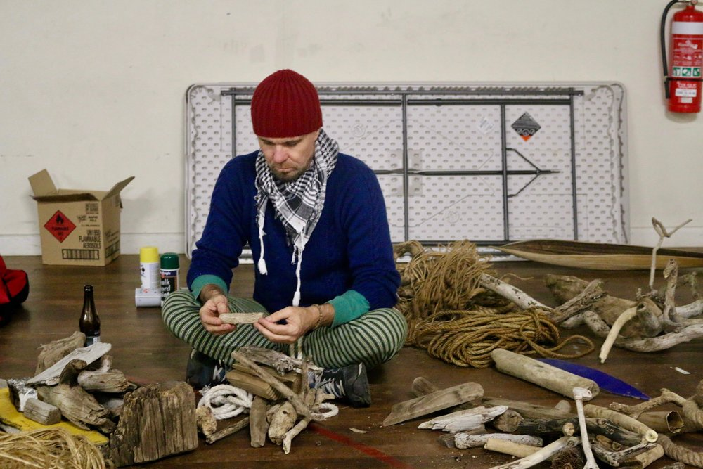 In rehearsals for new 60-minute production, Threshold:NRC in May 2018 at PACT Theatre as a double bill with choreographer Cloé Fournier and her work, Humanoid. Here I'm sorting out the natural debris from the plastic that was used to build and installation 'Bird Island' in the work.