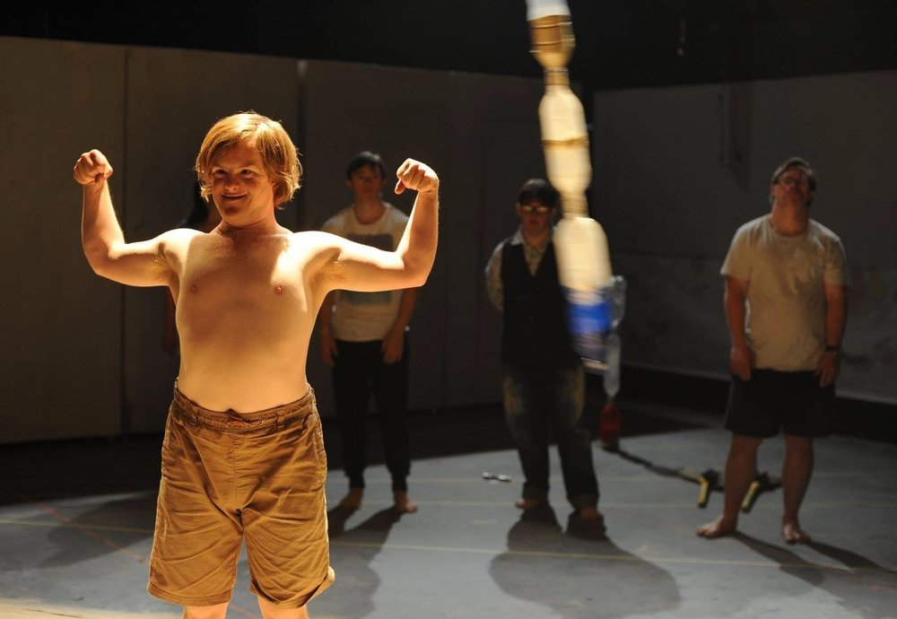 James Penny as 'The Sandman' with other cast members during a scene from Speed of Life by RUCKUS - a work made in collaboration with co-director / producer Alison Richardson. PACT centre for emerging artists, Sydney. RUCKUS is a disability-led performance group based in Sydney. They have been working together since 2011 and Speed of Life was their 2nd major full-length and acclaimed work. Photo - Heidrun Lohr