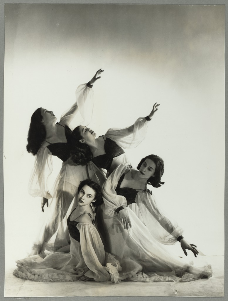 From the National Library of Australia, Canberra - The Bodenwieser Ballet performance of Blue Danube Waltz, with Moira Claux, Elaine Vallance, Nina Bascolo and Biruta Apens, 1953.   Chappie remounted this work several times on students at Bodenwieser Dance Centre.