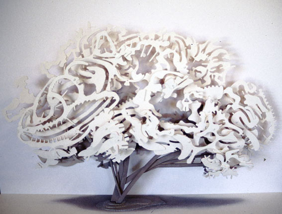 Flowering Crabapple, 1997, painted plywood with cotton backdrop, 60 x 87 x 16 cm