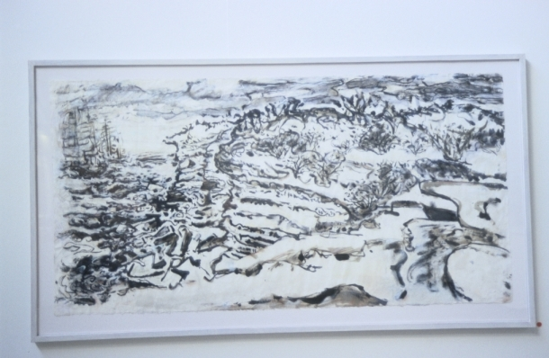 Vessels Rounding Cape Solander, 2006-2007, acrylic wash, chalk & pastel on Korean rice paper, 75 x 146 cm