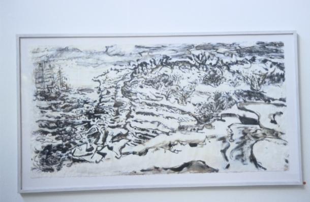 Vessels Rounding Cape Solander, 2006-2007, acrylic wash, chalk & pastel on Korean rice paper, 75 x 146 cm