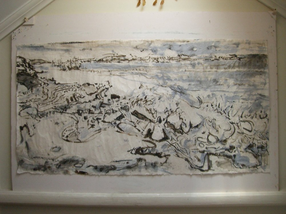 Entrance to Botany Bay, 2006-07, acrylic wash, chalk & pastel on Korean rice paper, 75 x 146 cm