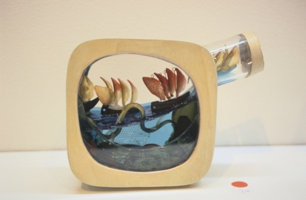 Fleet in a Bottle, 2006, mixed media, 19 x 15 x 6 cm