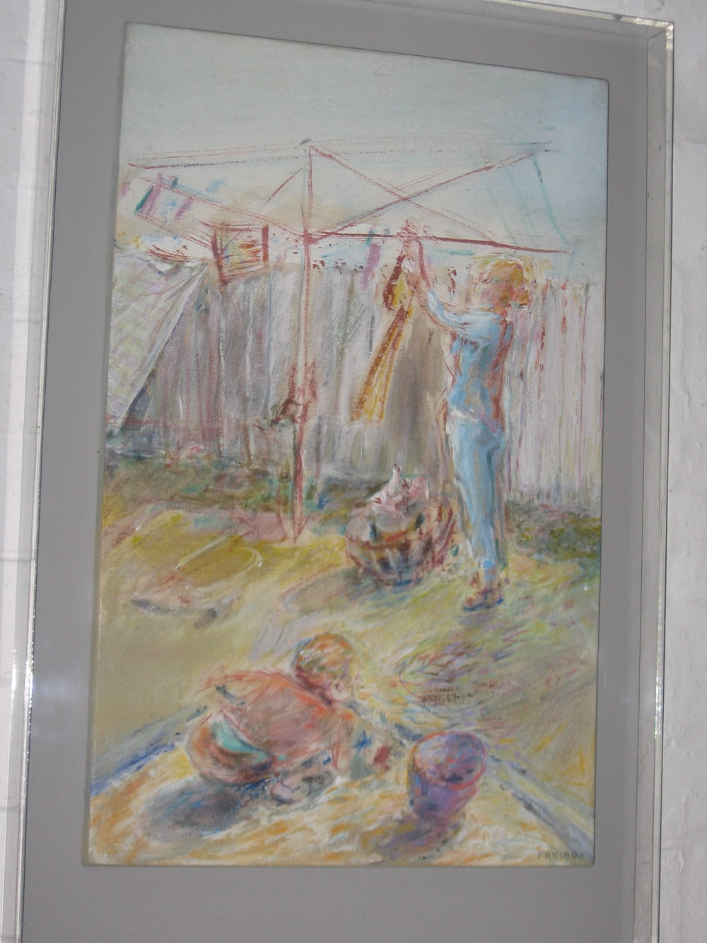 Hanging the washing, 1990, acrylic on cotton duck, 56 x 36 cm