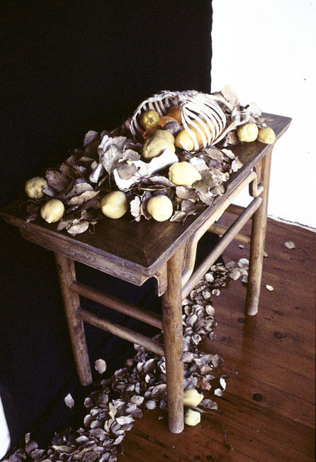 Window Installation - King Street Gallery, 2001, Skeleton, leaves, wax quinces and a Chinese table
