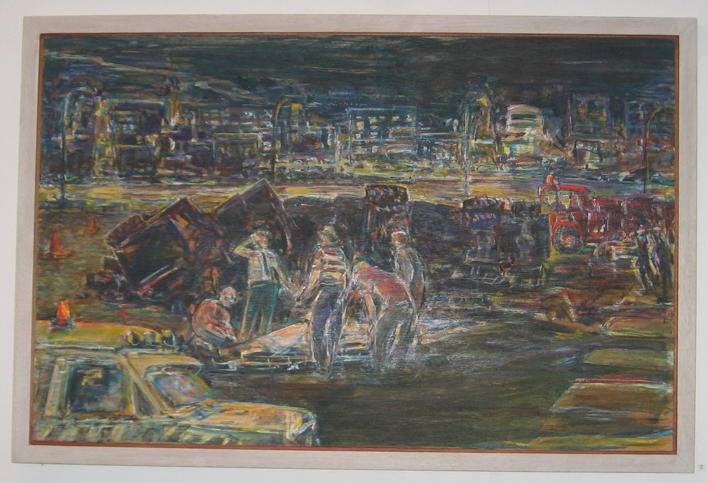 Jack-knifed semi, 1992-93, acrylic on plywood, 59 x 91 cm