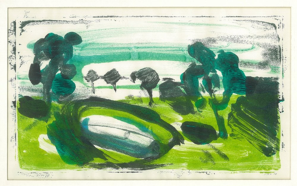 Olive Ground Dam, 1978, monotype – 2 block, 32 x 20 cm