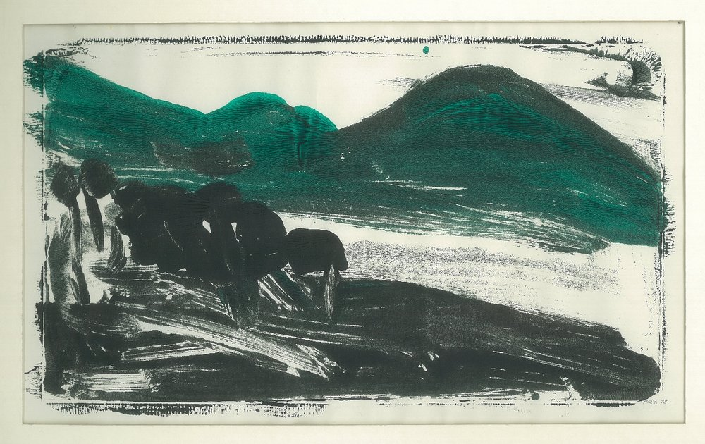 Dark Hill, 1978, monotype - versatex textile ink, 32 x 20 cm