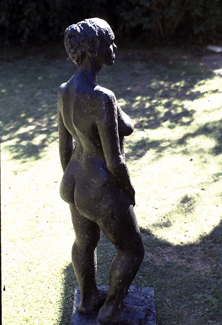 Standing Figure, 1972, black fibre-glass, approximately half life-size