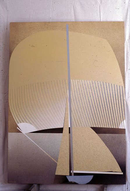 Spiniker 1, 1977, oil, enamel and beeswax on hessian and plywood, 277 x 176 cm