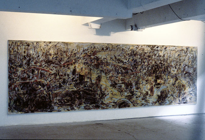 Home is Where the Fire Is, 1987-88, Acrylic, pastel and enamel on cotton duck, 750 x 2490, Private collection